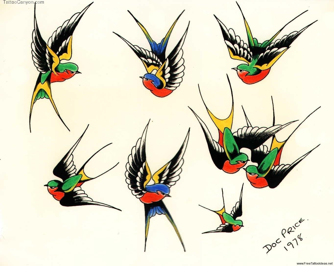 Как нарисовать маленькую птицу для тату