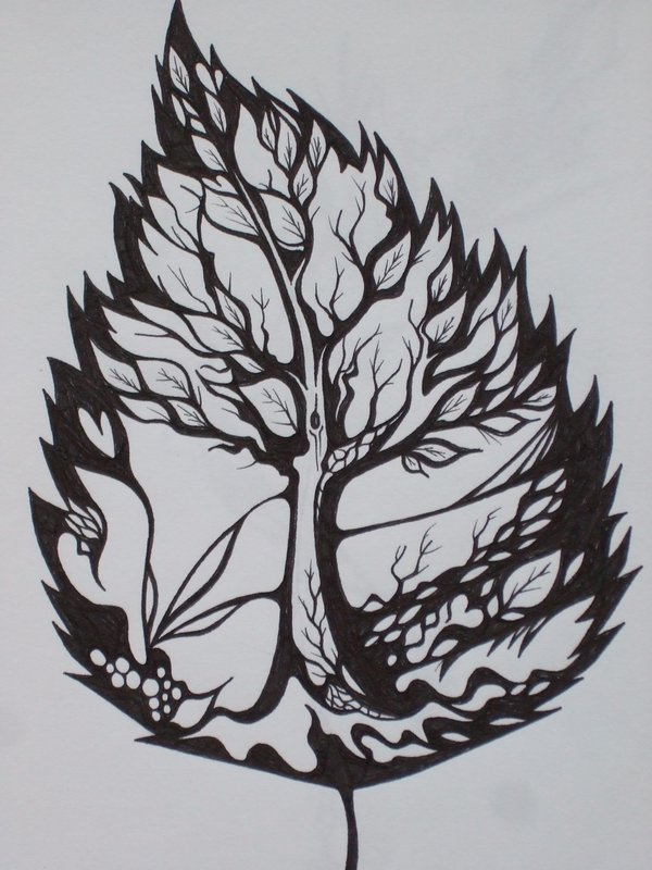 Black Ink Leaf Tattoo Design