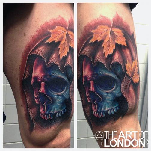 Leaf tattoo images designs for Color skull tattoos