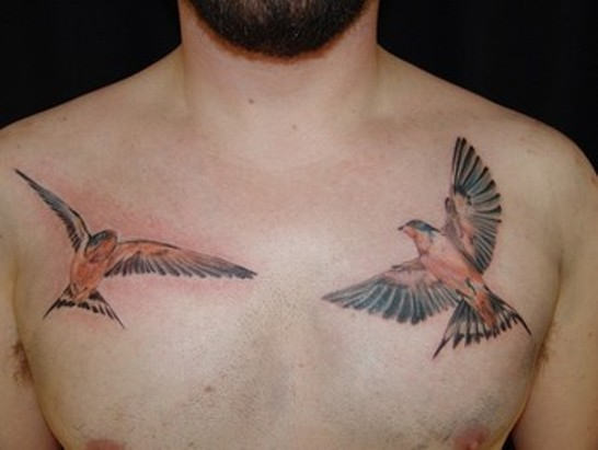 flying sparrow tattoos on man chest. Black Bedroom Furniture Sets. Home Design Ideas