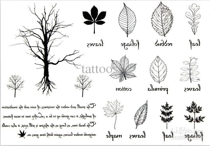 Grey Ink Leaf Tattoos Designs