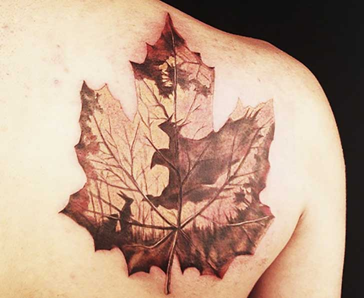 Right Back Shoulder Maple Leaf Tattoo