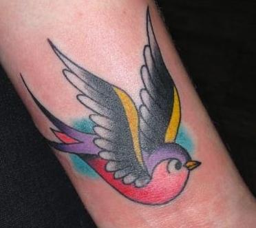 traditional colored sparrow tattoo on arm. Black Bedroom Furniture Sets. Home Design Ideas