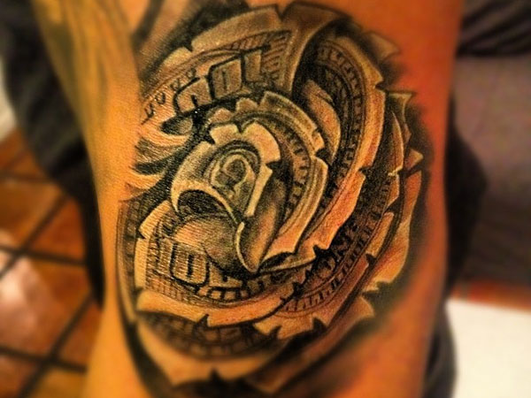 Grey Money Flower Tattoo