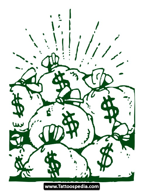 Time is Money Tattoo Designs For Men Money Bags Tattoos Designs