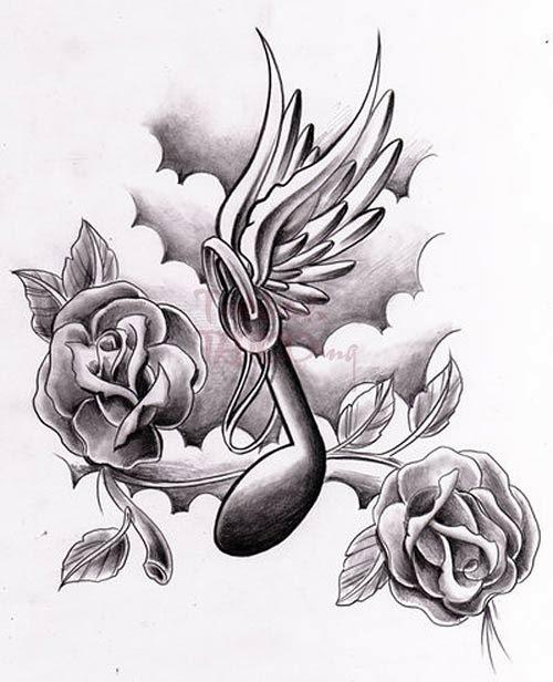 Rose Flowers And Money Tattoo Design