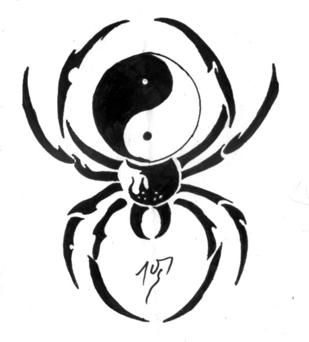 Black yin tang spider tattoo design altavistaventures Gallery
