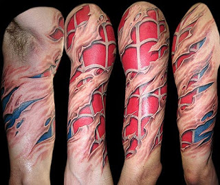 Colored 3D Spider Tattoo On Sleeve
