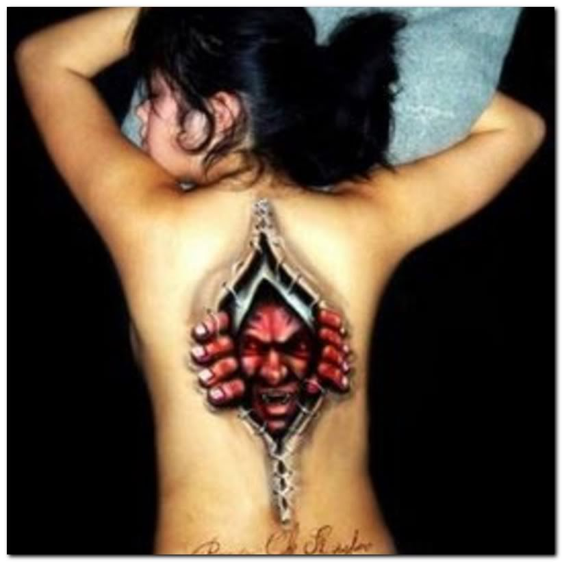 Evil Spider Tattoo On Back