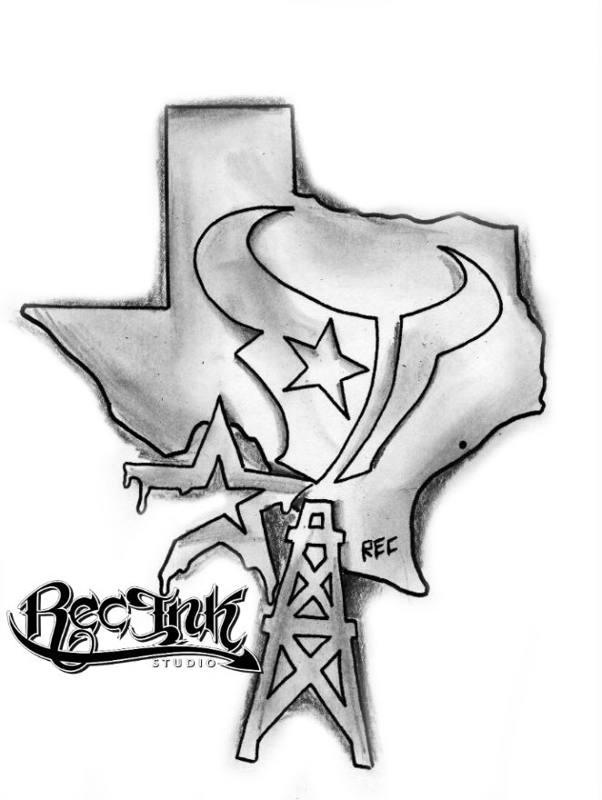 Amazing Grey Ink Star And Texas Tattoo Design