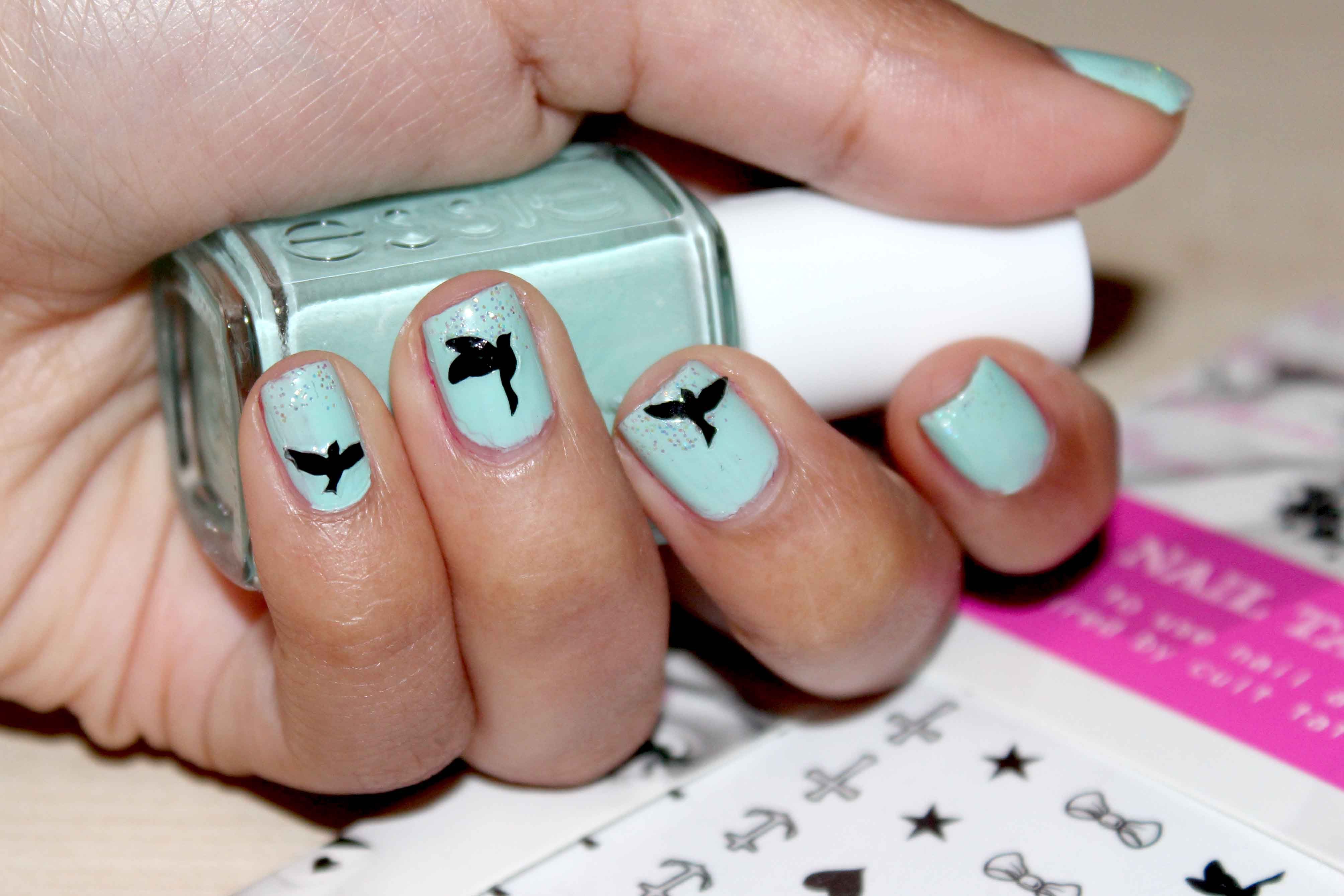 Color birds nail tattoo beautiful black flying birds nail tattoos prinsesfo Images