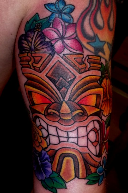 Tiki tattoo images designs for Polynesian tiki tattoo