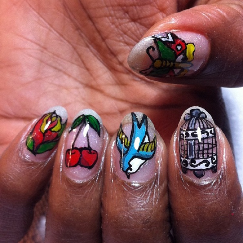 Colored Cherry And Bird Nail Tattoo