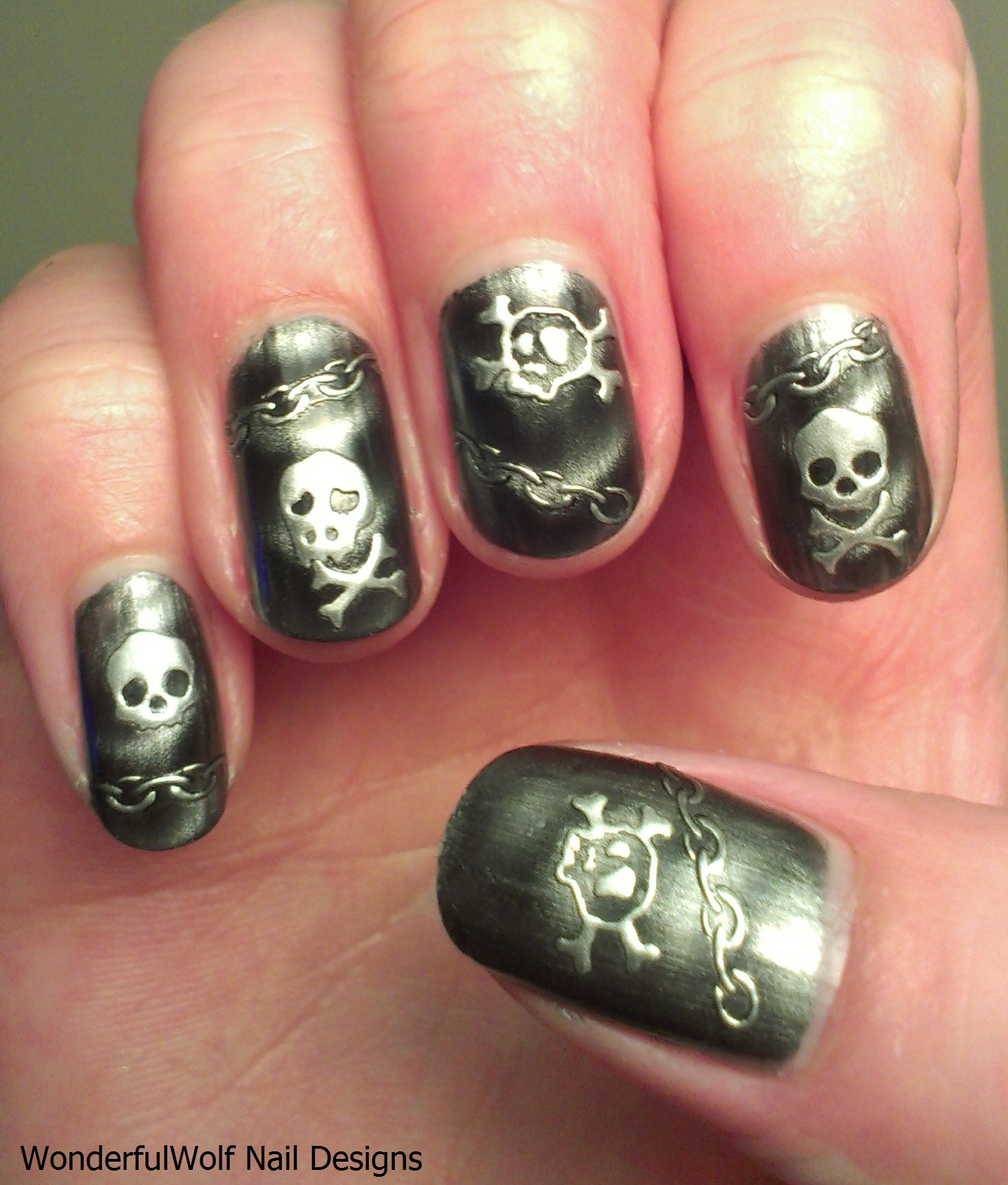 Skull Nail Tattoo Design