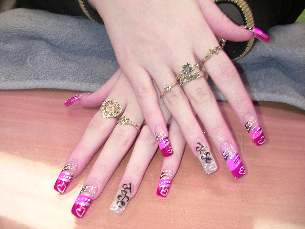 Nail tattoo images designs girl showing her nail tattoos prinsesfo Images