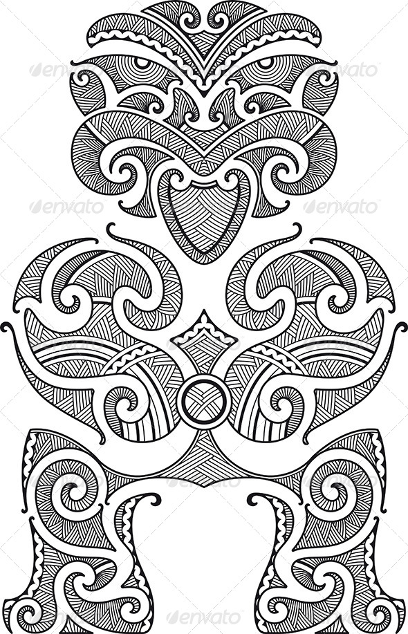 Maori Tiki Tattoo Design Aztec Pencil Drawings