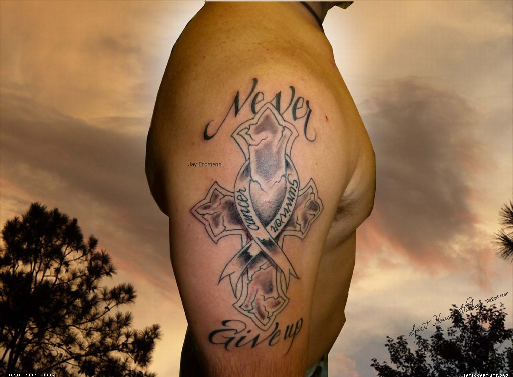 never give up texas tattoo on right half sleeve. Black Bedroom Furniture Sets. Home Design Ideas
