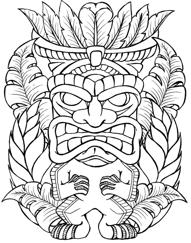 Outline Of Polonisian Sleeve: Tiki Tattoo Images & Designs