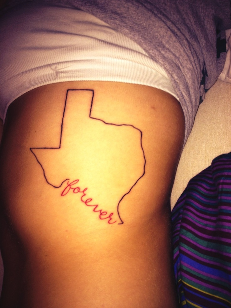 Texas Map Tattoo On Side