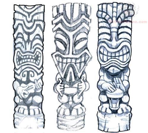 Tiki Mask Tattoos Design