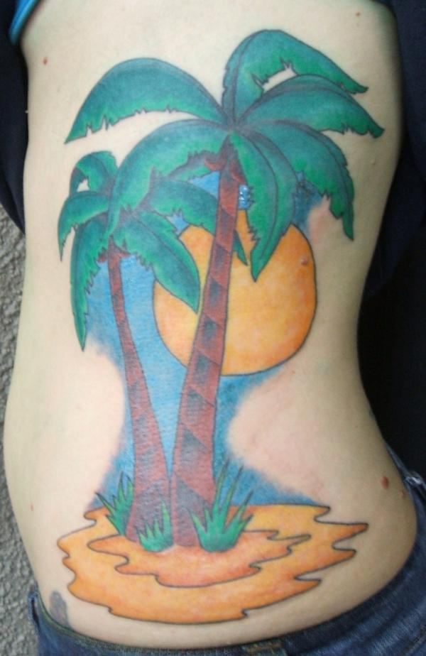 Yellow Flower And Palm Tree Tattoo