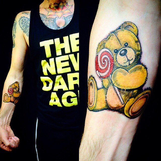 Colored Teddy Bear Tattoo On Right Forearm
