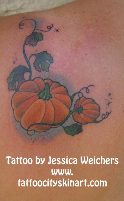 Left back shoulder pumpkin tattoo for Tattoos of pumpkins