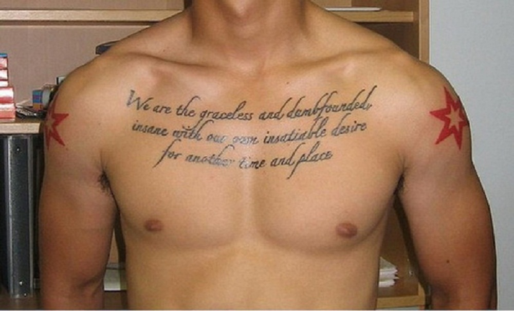 Man With Strength Quote Tattoo On chest