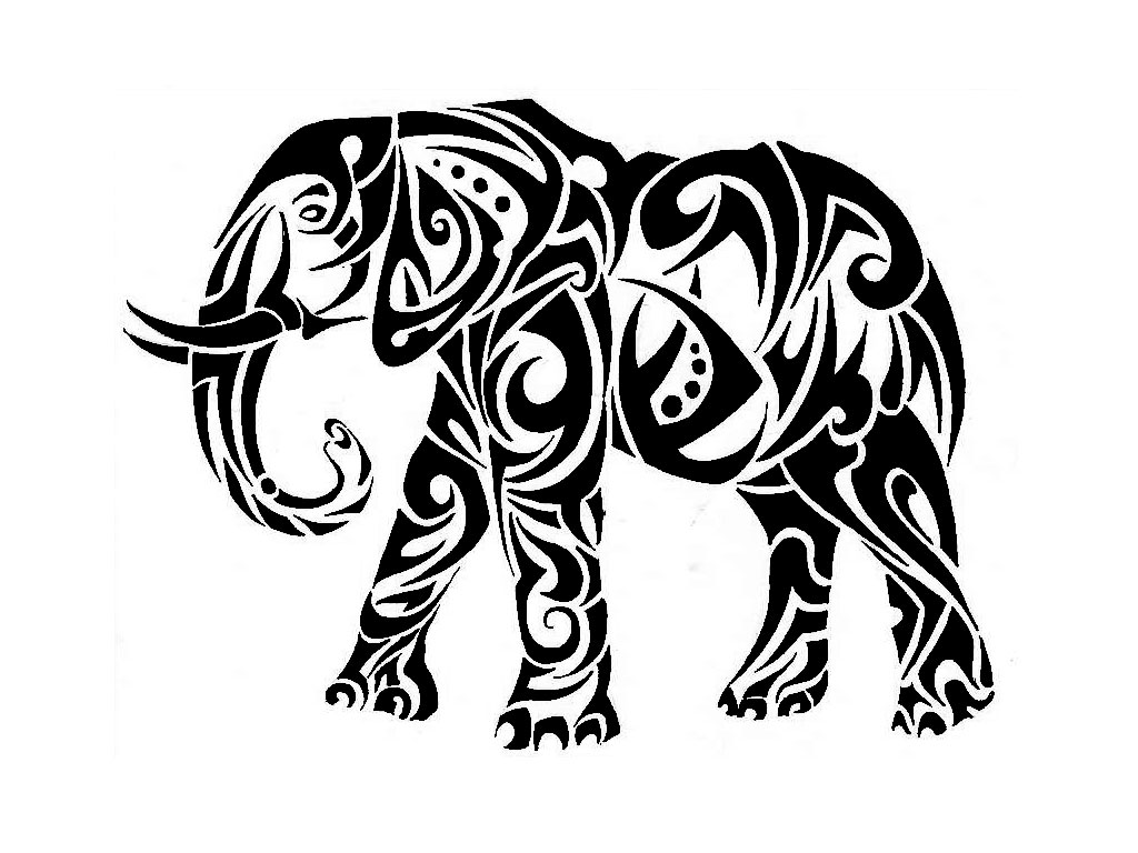 Black Tribal Elephant Animal Tattoo Design