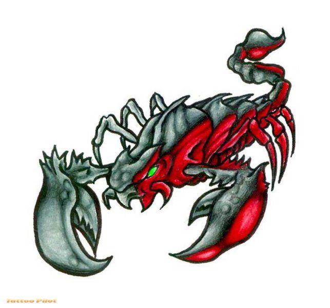Grey And Red Scorpio Animal Tattoo Design