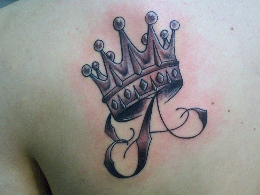 Left Back Shoulder Letter A And Crown Tattoo