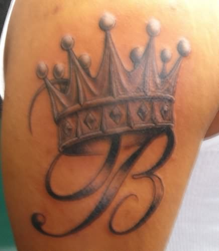 Letter B And Crown Tattoo On Shoulder