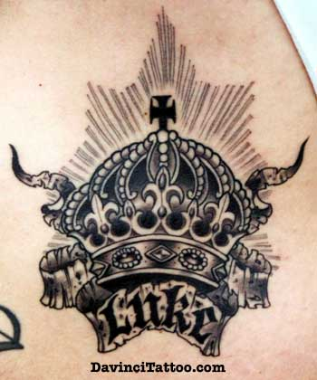 Lucky Banner and Crown Tattoo on Back