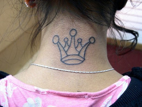 Outline Crown Tattoo On Girl Nape