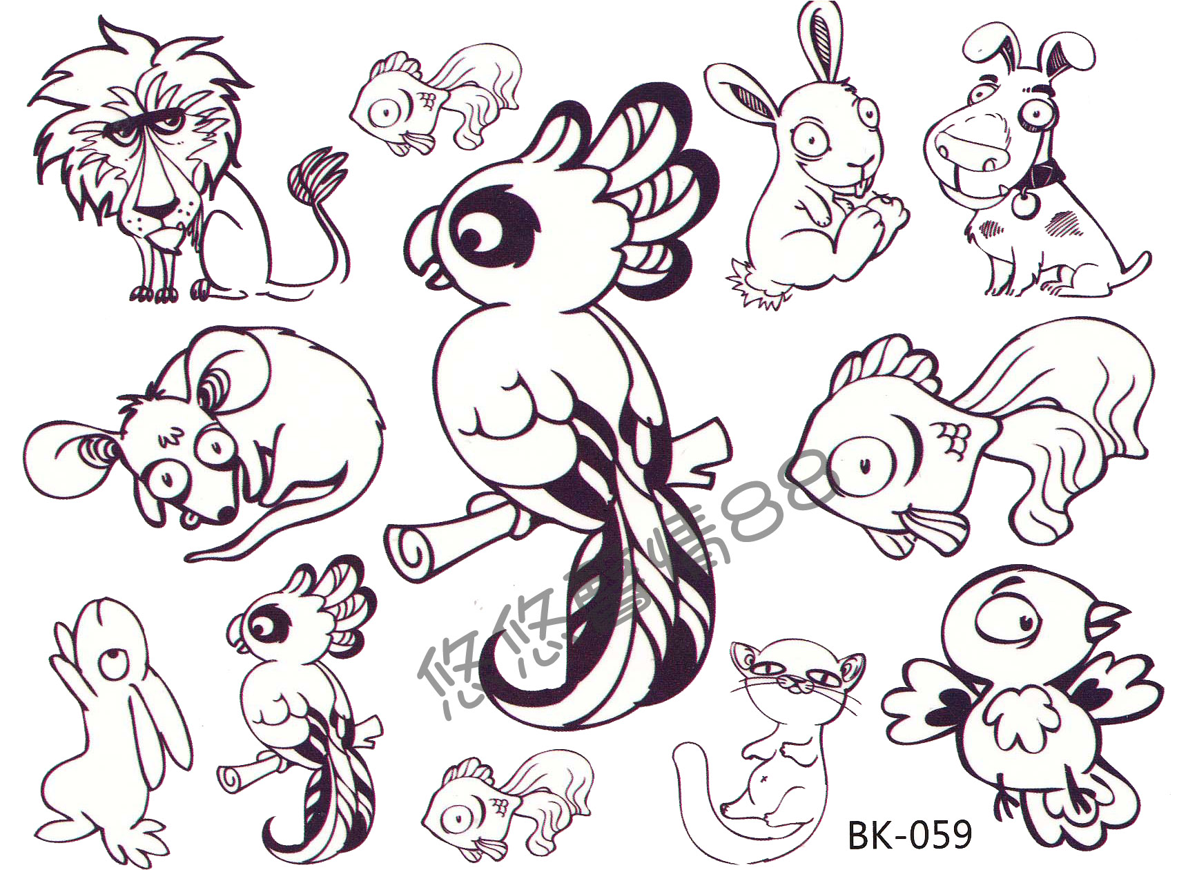 Animal tattoo images designs for Small cartoon tattoo designs