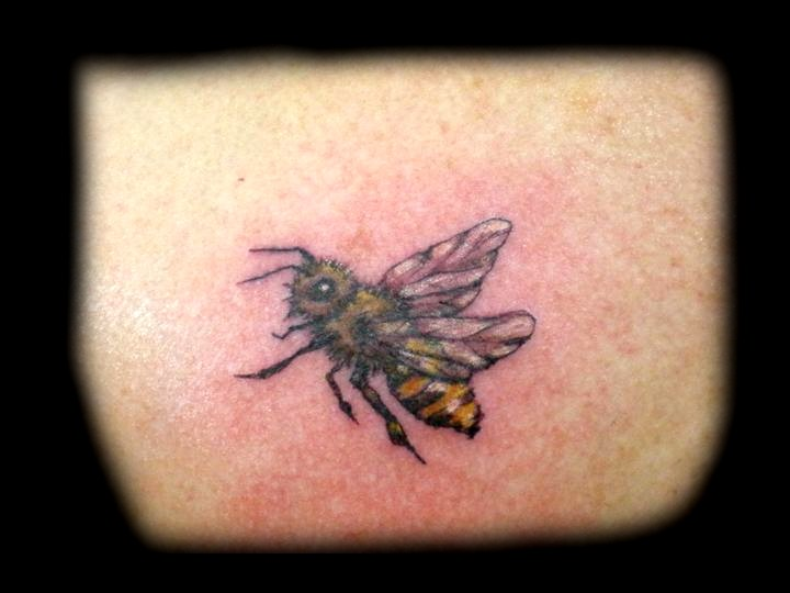 Bee tattoo images designs for Small bee tattoo