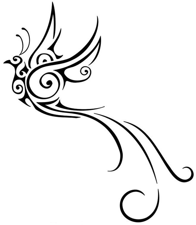 Black Tribal Flying Birds Tattoo Design