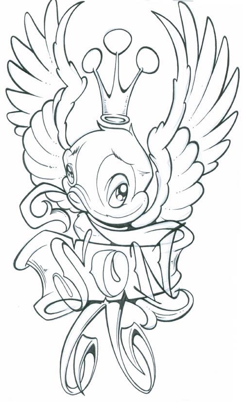 crown bird tattoo design Ladder Cage Design