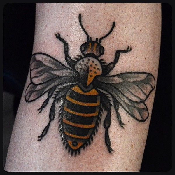Grey And Yellow Bee Tattoo