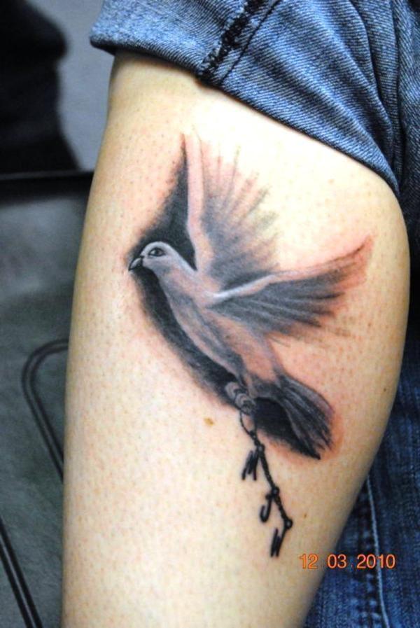 Grey Ink Flying Dove Bird Tattoo
