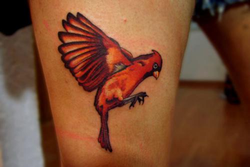 Red Ink Flying Bird Tattoo on Phoenix Bird Drawings