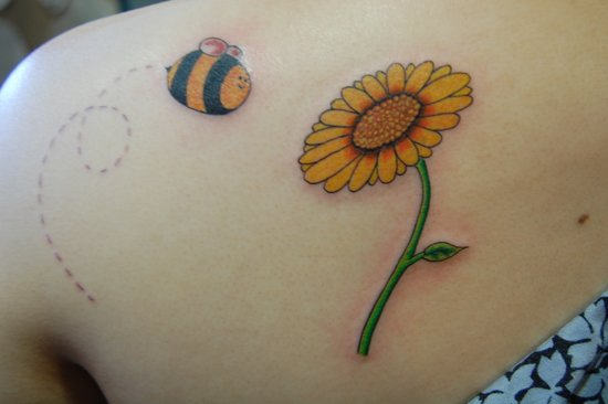 sun Flower And Bee Tattoo On Left Back Shoulder