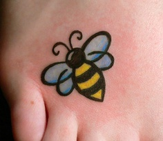Unique Small Bee Tattoo On Right Foot