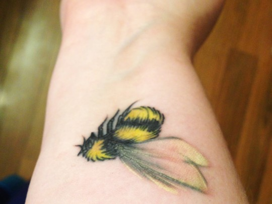 Yellow Bee Tattoo On Wrist