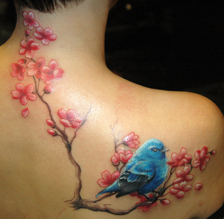 Blue Cherry Blossom Flowers Tattoo On Side Neck