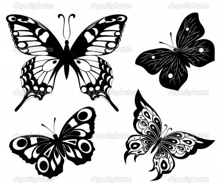 Black And White Butterflies Tattoo Design