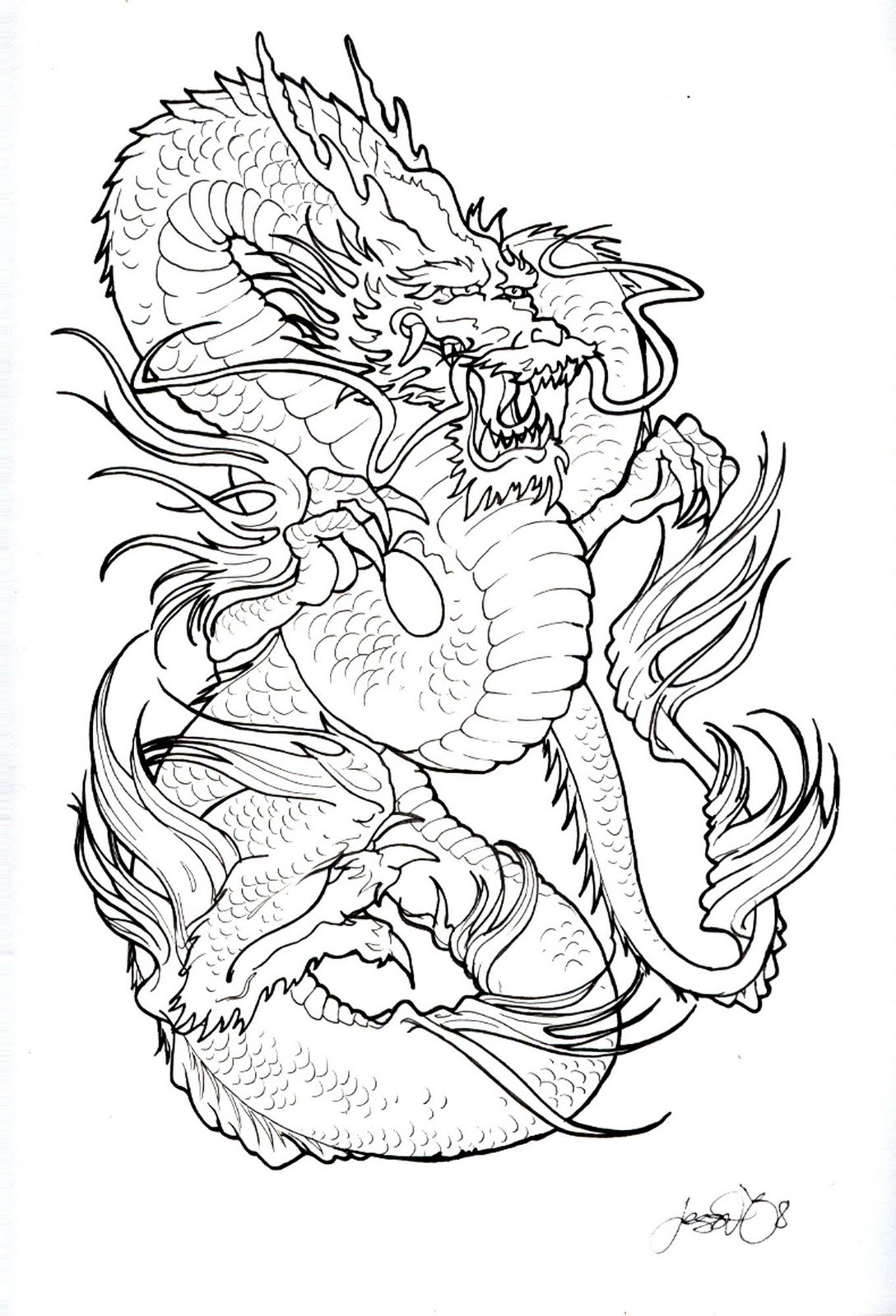 Black And White Dragon Tattoo Design