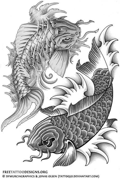 Koi fish design black and white for Black white koi