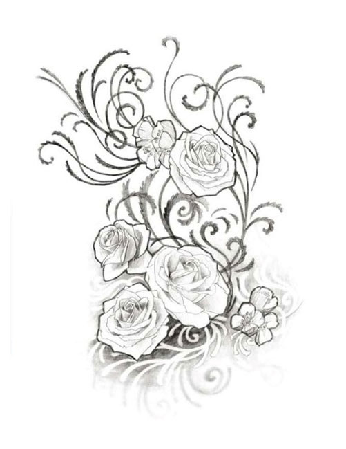 Right Half Sleeve Rose Flowers Black And White Tattoo
