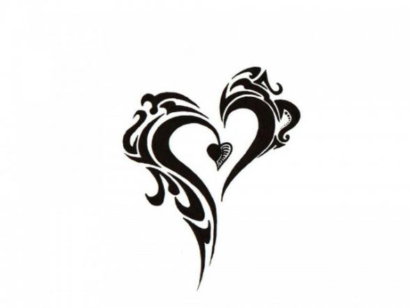 Black Tribal Heart Black And White Tattoo Design